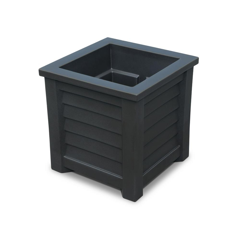 Lakeland 16 in. Square Black Plastic Planter
