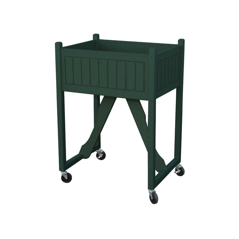 Eagle One 27 in. x 20 in. Green Recycled Plastic Commercial Grade Raised Garden Bed