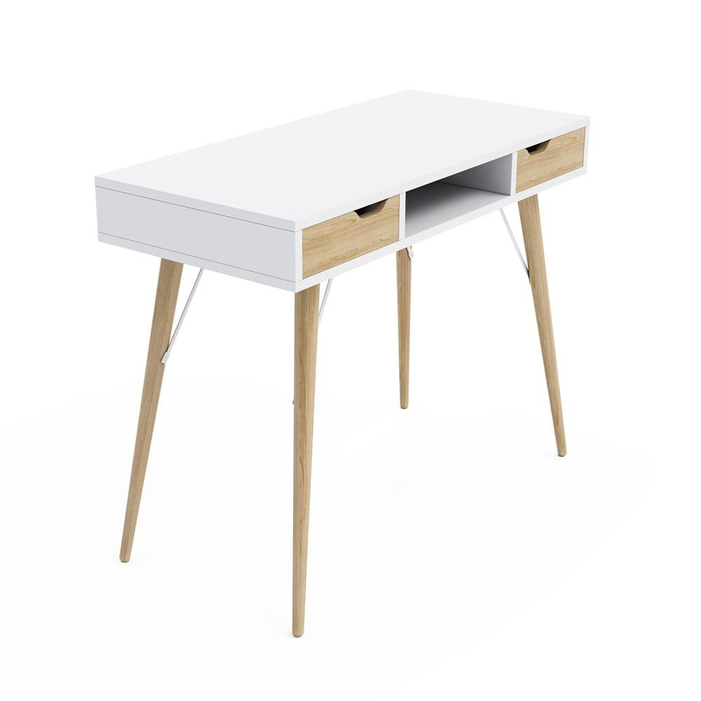 Blythe White/Natural 2-Drawer Pocket Console Table