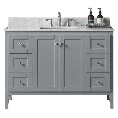 York 48 in. W x 22.4 in. D x 34.2 in. H Bath Vanity in Taupe Grey w/ Carrara Marble Vanity Top in White w/ White Basin