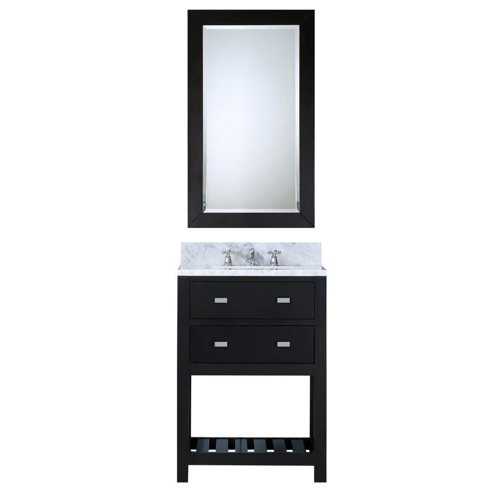 24 in. Vanity in Espresso with Marble Vanity Top in Carrara