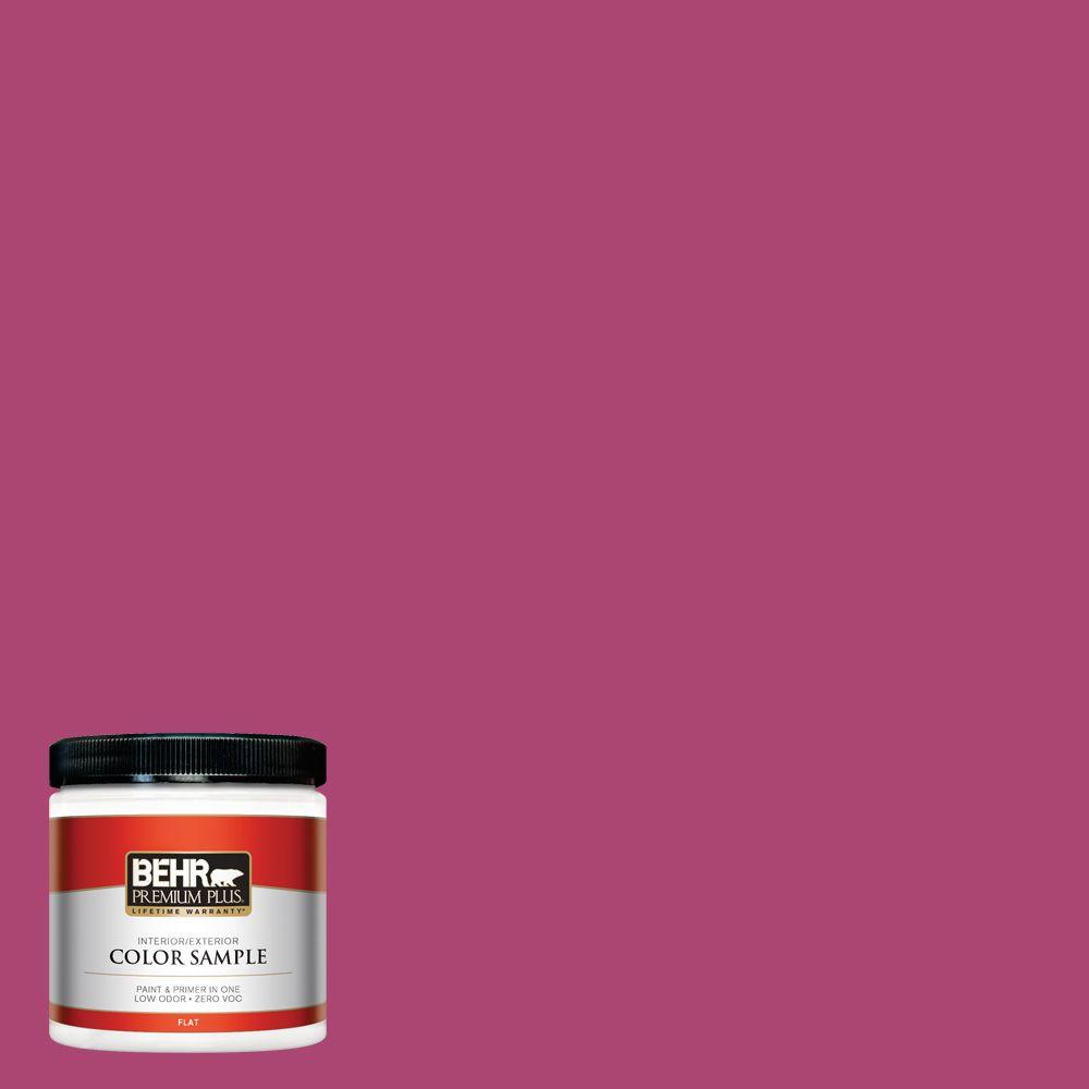 BEHR Premium Plus 8 oz. #100B-7 Hot Pink Flat Interior/Exterior ...