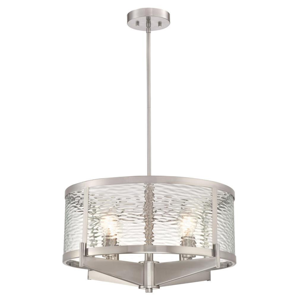 Westinghouse Branston 4-Light Brushed Nickel Chandelier with Clear Water Glass