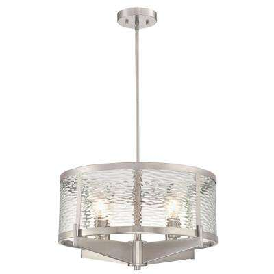 Branston 4-Light Brushed Nickel Chandelier with Clear Water Glass