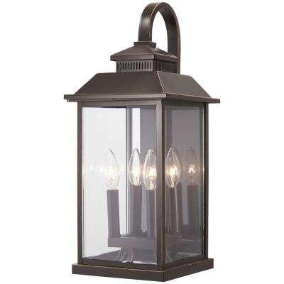 Miner's Loft 4-Light Oil Rubbed Bronze with Gold Highlights Outdoor Wall Mount Lantern