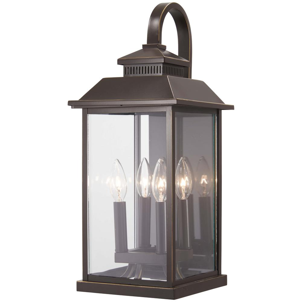 The Great Outdoors Miner's Loft 4-Light Oil Rubbed Bronze with Gold Highlights Outdoor Wall Lantern Sconce