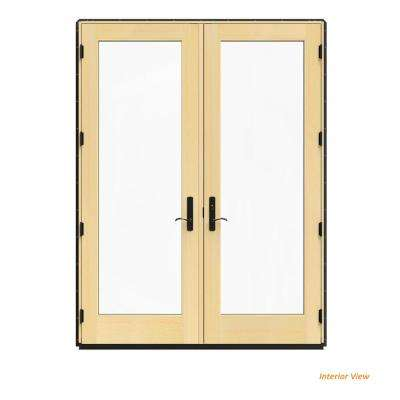 72 in. x 96 in. W-4500 Bronze Clad Wood Left-Hand Full Lite French Patio Door w/Lacquered Interior