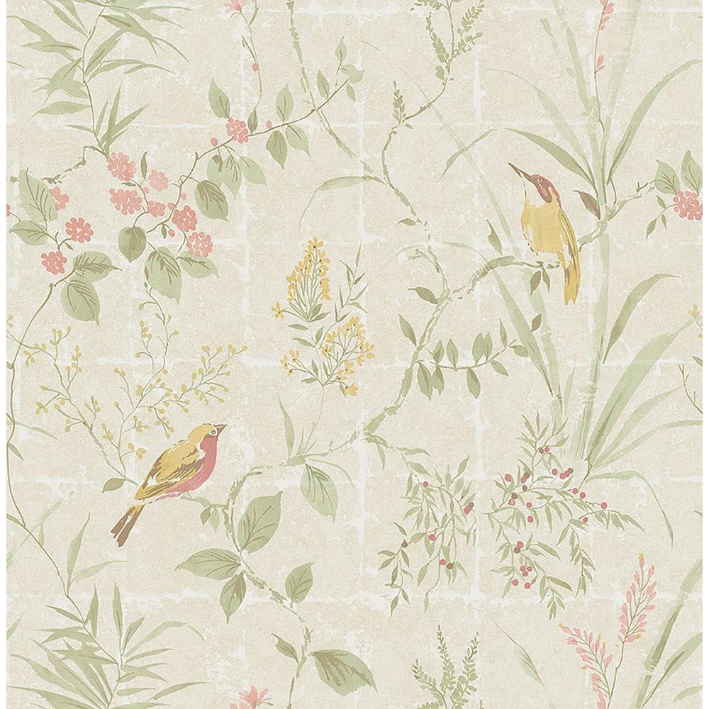 Imperial Cream Garden Chinoiserie Wallpaper Sample