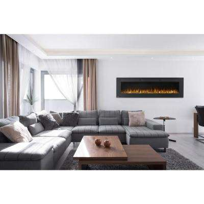 72 in. Wall-Mount Linear Electric Fireplace in Black