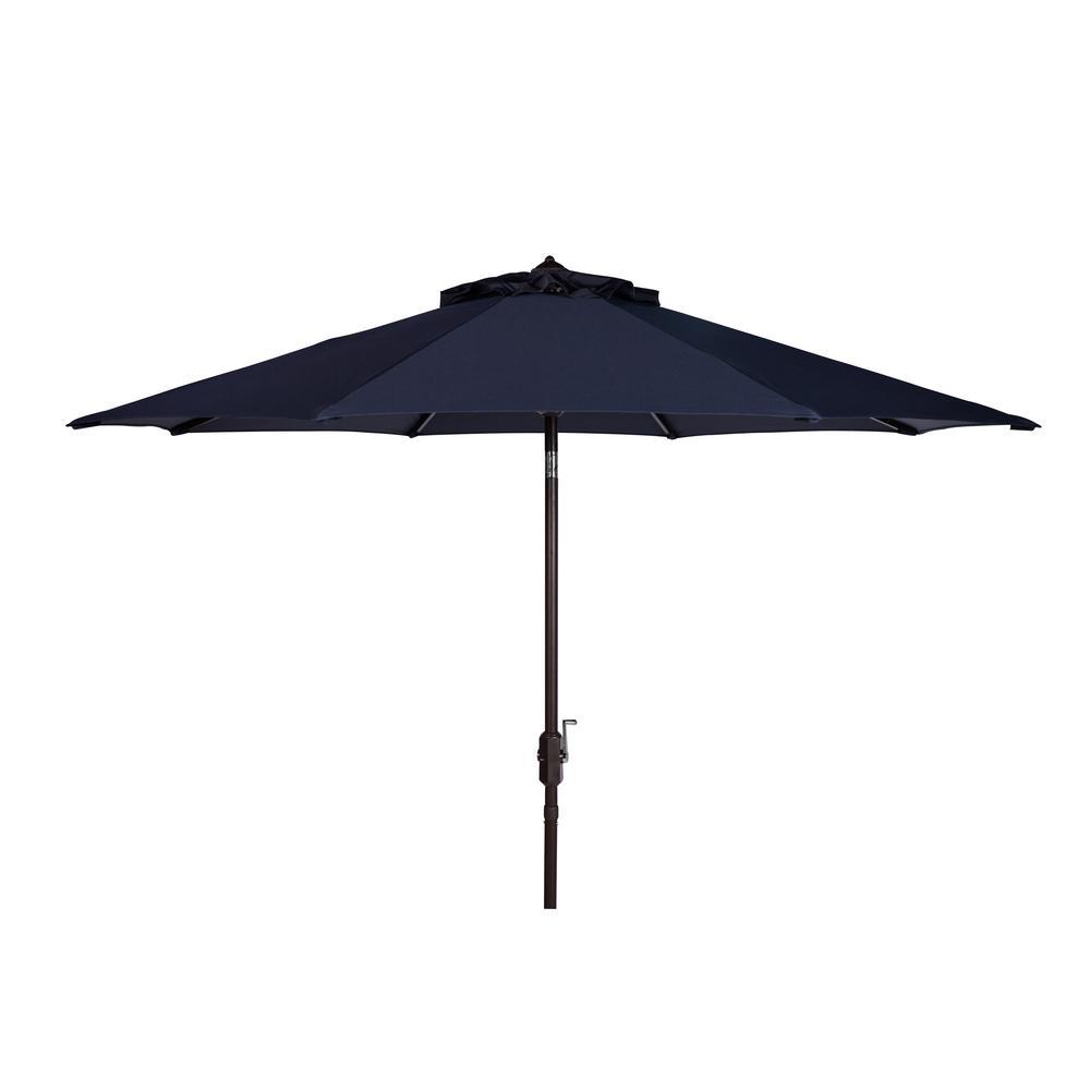 Safavieh Ortega 9 ft. Aluminum Market Auto Tilt Patio Umbrella in Navy