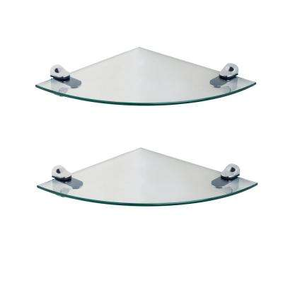 Pristine 10 in. Radius Clear Glass Radial Floating Shelves with Chrome Brackets (Set of 2)