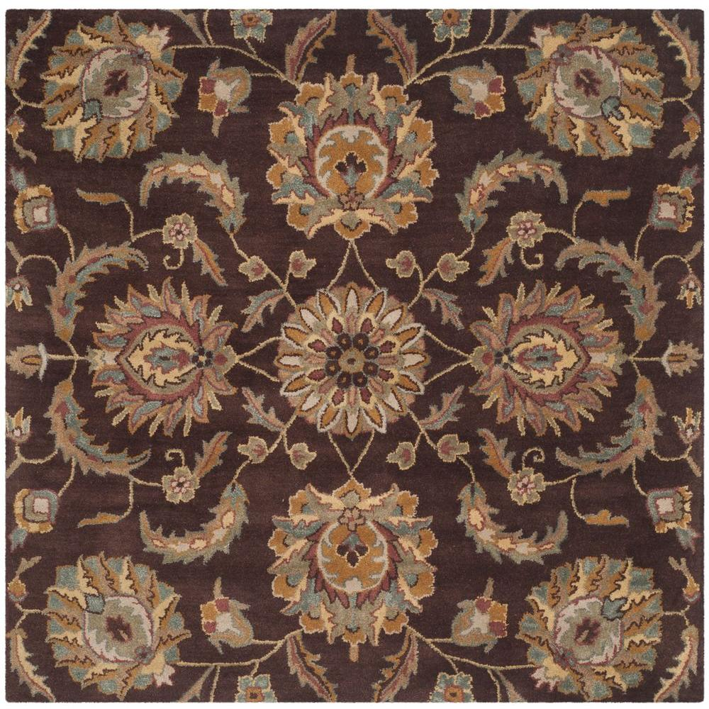 Safavieh Heritage Brown Gold 6 Ft X 6 Ft Square Area Rug