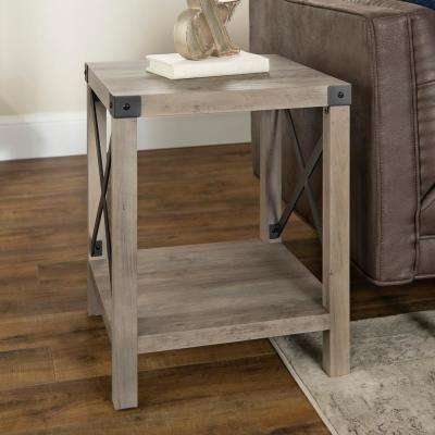 18 in. Grey Wash Rustic Urban Industrial Metal X Accent Side Table