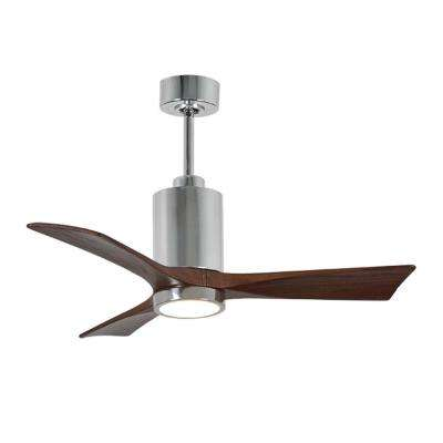 Patricia 42 in. LED Indoor/Outdoor Damp Polished Chrome Ceiling Fan with Light with Remote Control, Wall Control