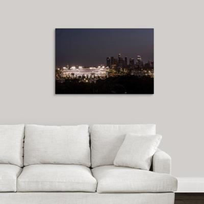 """""""Dodger Stadium and LA skyline Lit Up at Night"""" by Circle Capture Canvas Wall Art"""