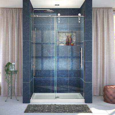 Enigma-Z 44 in. to 48 in. x 76 in. Frameless Sliding Shower Door in Polished Stainless Steel