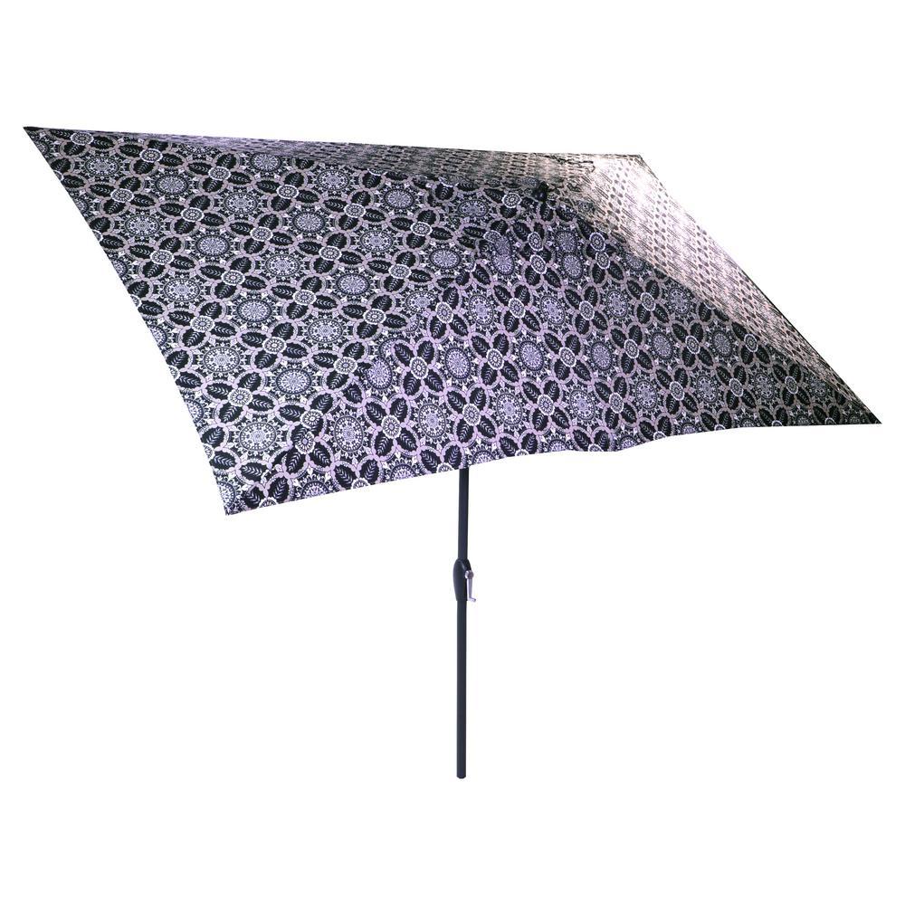 Hampton Bay 10 ft. x 6 ft. Aluminum Market Patio Umbrella in Black Tile with Push-Button Tilt