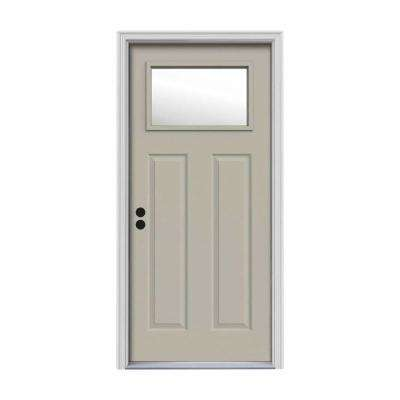 32 in. x 80 in. 1 Lite Craftsman Desert Sand Painted Steel Prehung Right-Hand Inswing Front Door w/Brickmould