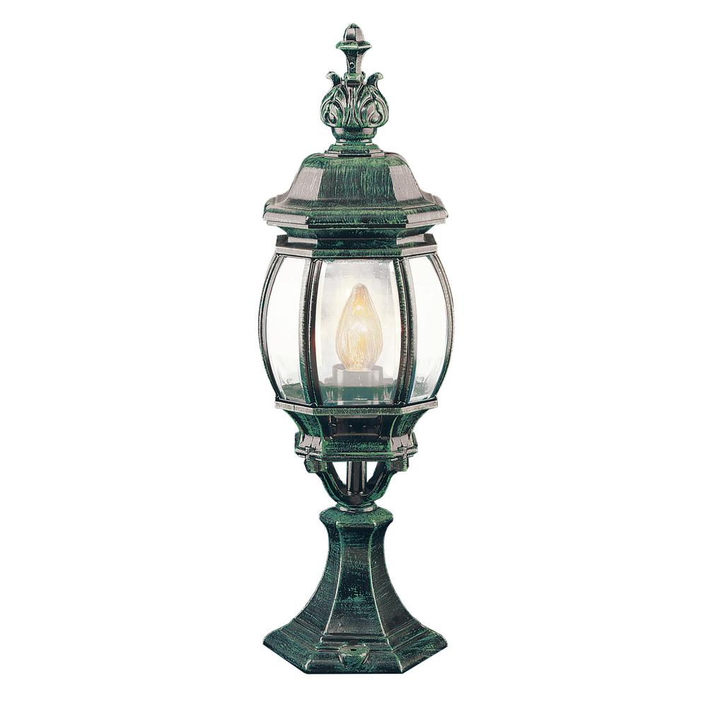 Bel Air Lighting Francisco 20.5 in. 1-Light Verde Green Outdoor Postmount Lantern