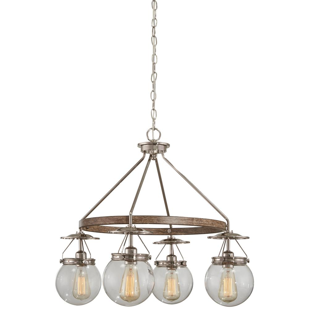 Good lumens by madison avenue 4 light polished nickel and corona good lumens by madison avenue 4 light polished nickel and corona bronze chandelier with clear mozeypictures Images