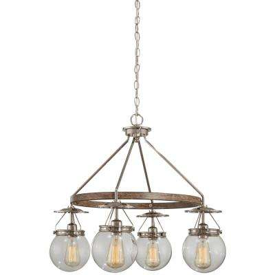 4-Light Polished Nickel and Corona Bronze Chandelier with Clear Glass Shade