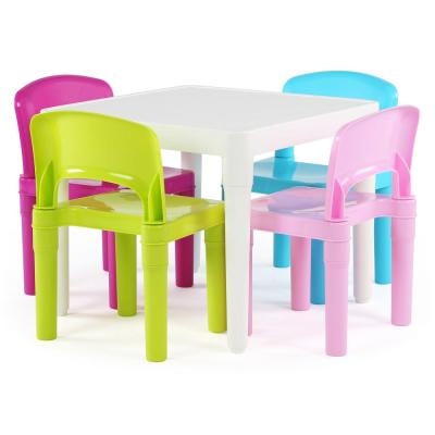 Playtime 5-Piece White/Bright Colors Plastic Table and Chairs Set