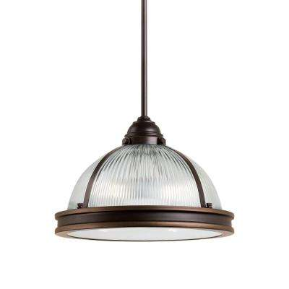 Pratt Street Prismatic 2-Light Autumn Bronze Pendant with LED Bulb