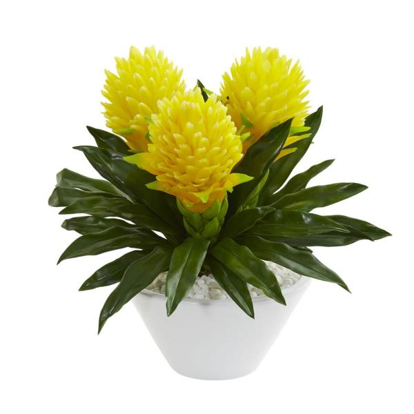 Nearly Natural Indoor 17 Ginger Artificial Plant in White Vase 8535-YL