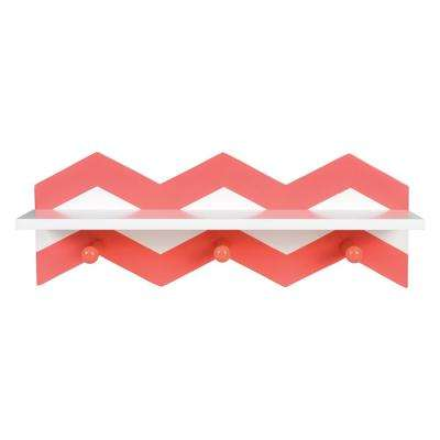 Coral Chevron 18 in. W x 4 in. D Wall Shelf