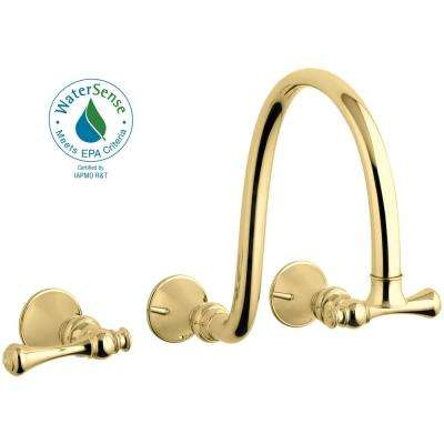 Revival Wall-Mount 2-Handle Water-Saving Bathroom Faucet Trim Kit in Vibrant Polished Brass (Valve Not Included)