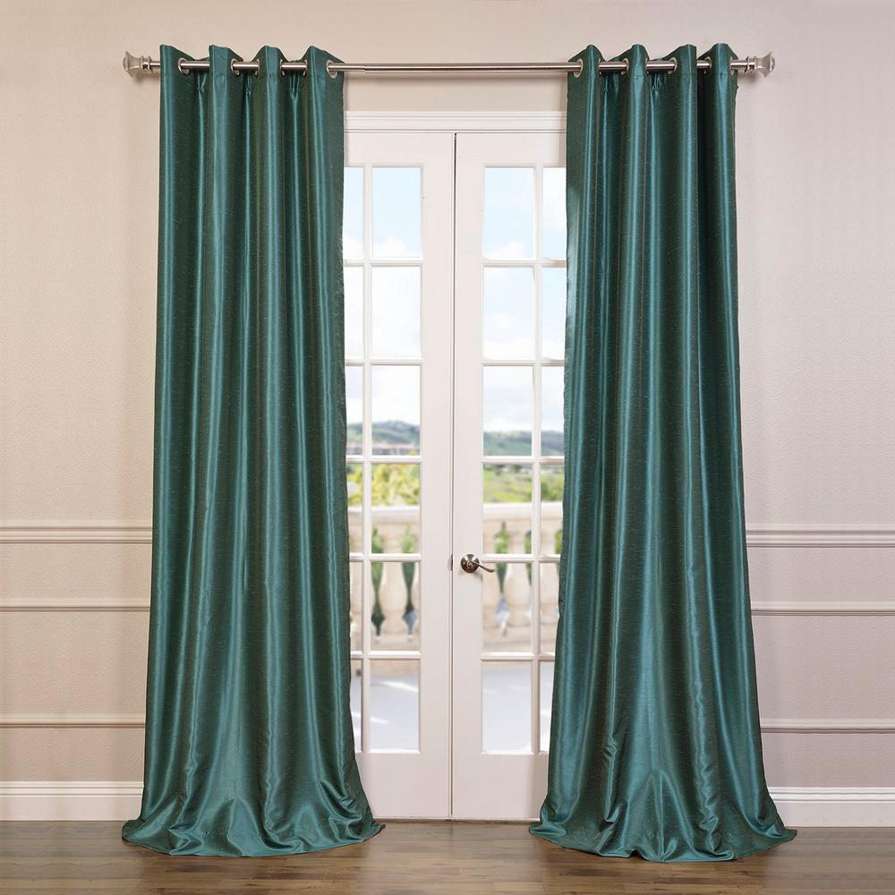 Exclusive Fabrics & Furnishings Peacock Blue Grommet Blackout Vintage Textured Faux Dupioni Silk Curtain - 50 in. W x 108 in. L