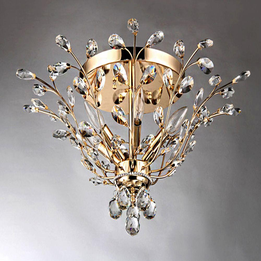 crystal flush mount chandelier. Ava 6-Light Gold Indoor Crystal Flush Mount Chandelier N