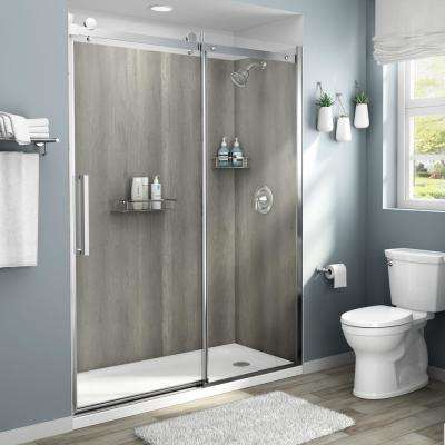 Passage 60 in. x 72 in. 4-Piece Glue-Up Shower Alcove Wall in Gray Timber