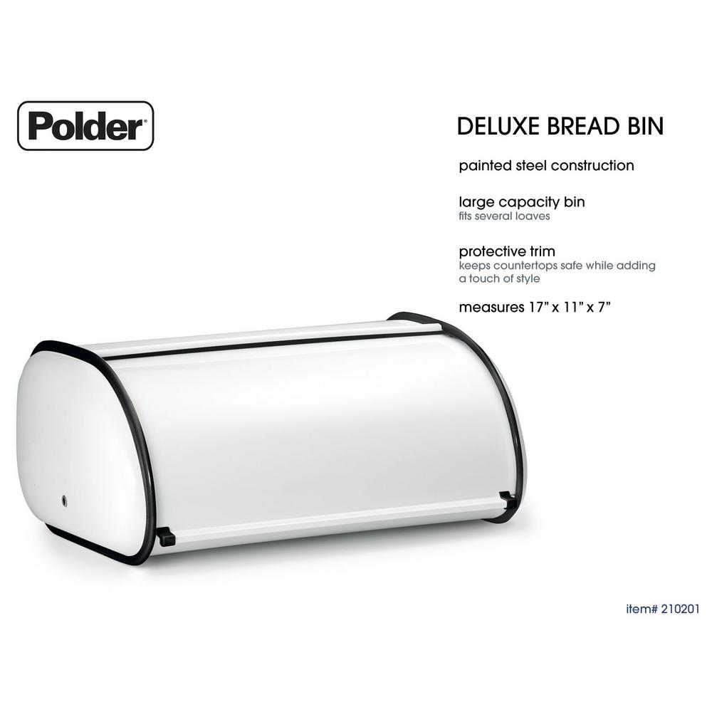 Polder Deluxe Bread Bin in White Deluxe Bread Bin gives you extra space to store food items for your counter top. Its unique design fits nicely on the counter top without taking up space.
