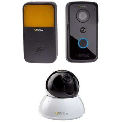 4MP Wi-Fi Pan-Tilt Camera with 720p Wi-Fi Smart Video Doorbell and Chime