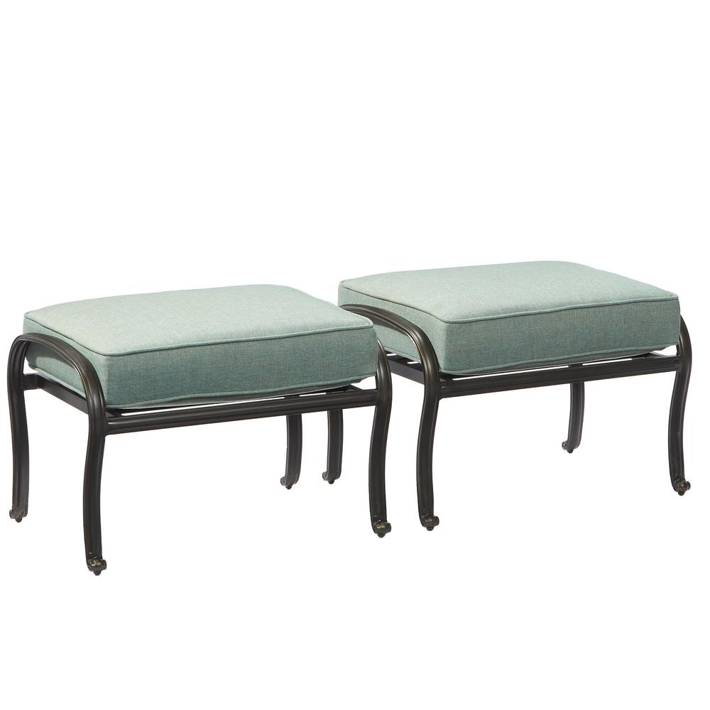 Hampton Bay Belcourt Metal Outdoor Ottoman With Spa Cushion  (2 Pack) D11334 O   The Home Depot