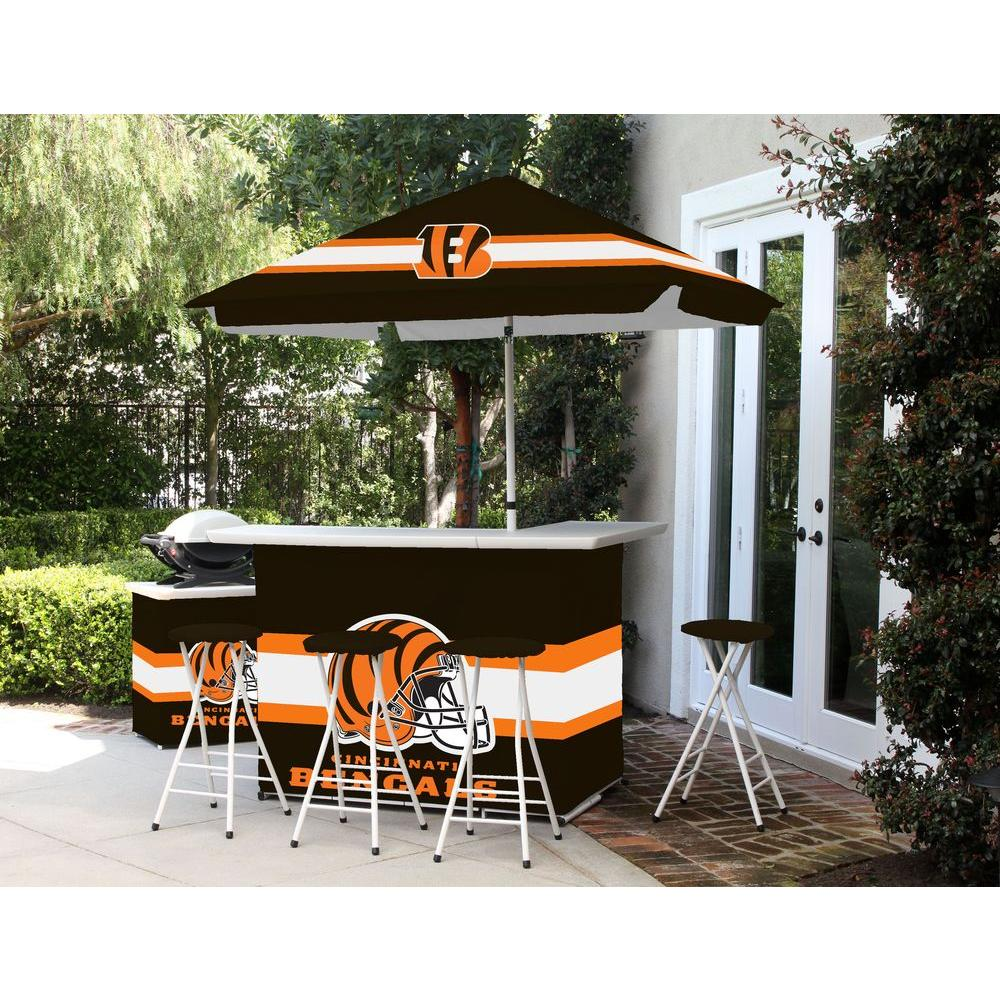 Best Of Times Cincinnati Bengals All Weather Patio Bar Set With 6 Ft.  Umbrella