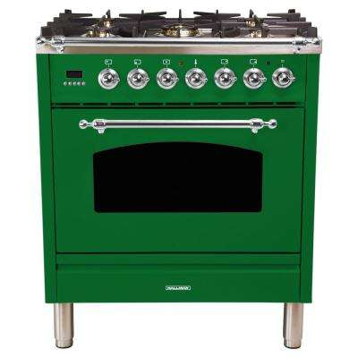 30 in. 3.0 cu. ft. Single Oven Dual Fuel Italian Range with True Convection, 5 Burners, Chrome Trim in Emerald Green