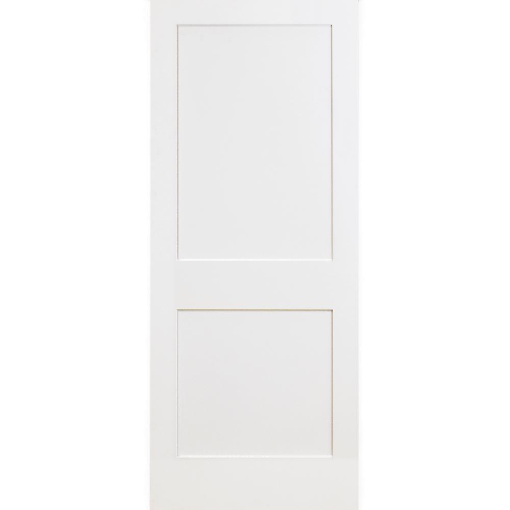 24 in. x 80 in. 2-Panel Square Primed White Shaker Solid