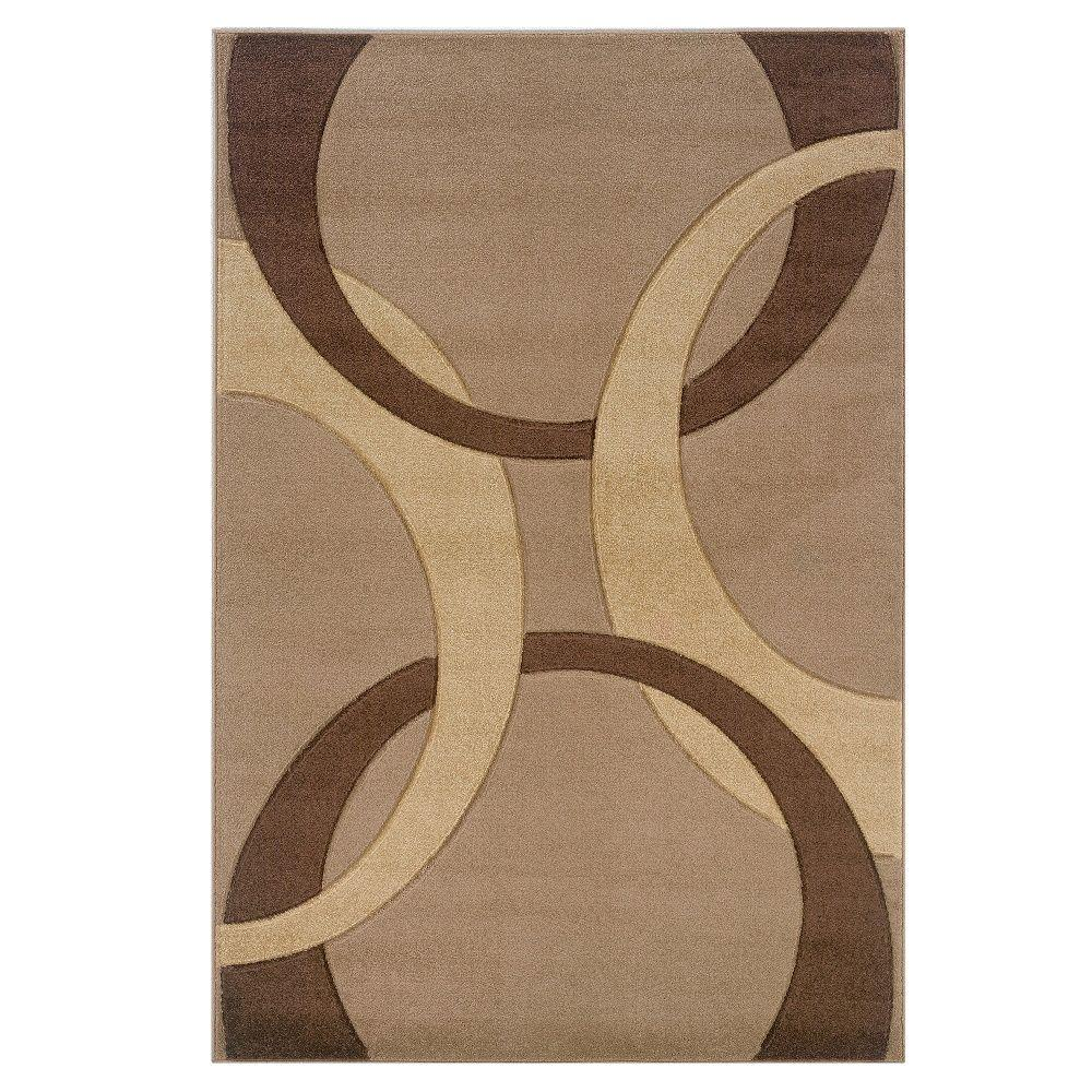 Corfu Collection Tan and Brown 5 ft. x 7 ft. 7