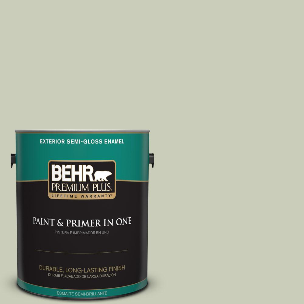 BEHR Premium Plus 1-gal. #S380-2 Morning Zen Semi-Gloss Enamel Exterior Paint
