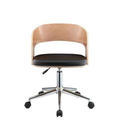 Yoshiko Black Leatherette and Beech Office Chair