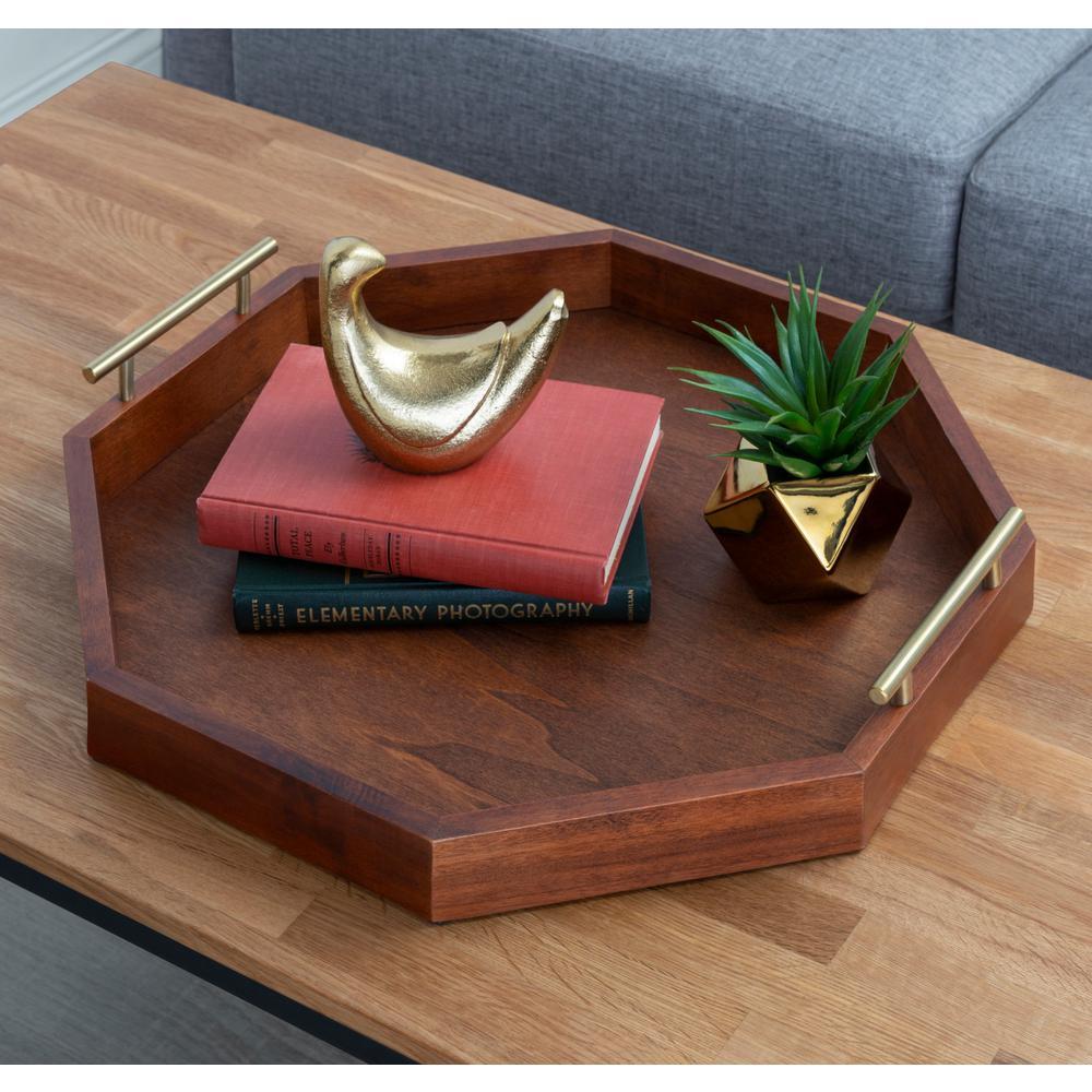 Lipton 18 in. x 18 in. Walnut Brown Wood Octagon Decorative Tray