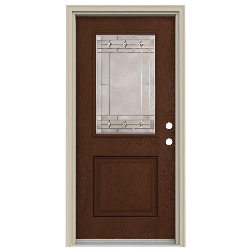 Jeld Wen 36 In X 80 In 1 2 Lite Sedona Coffee Bean Stained Fiberglass Prehung Left Hand
