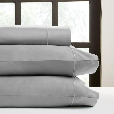Perthshire Platinum 4-Piece Grey Solid 650 Thread Count Cotton California King Sheet Set