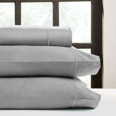 Grey T820 Solid Combed Cotton Sateen King Sheet Set
