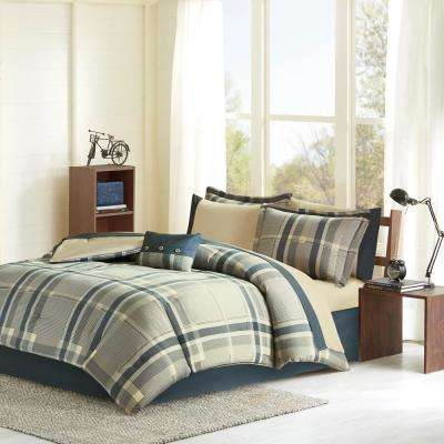 Roger 7-Piece Navy Multi Twin XL Plaid Comforter Set