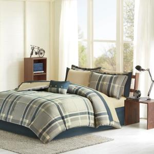 Roger 9-Piece Navy/Tan Full Bed in a Bag Set