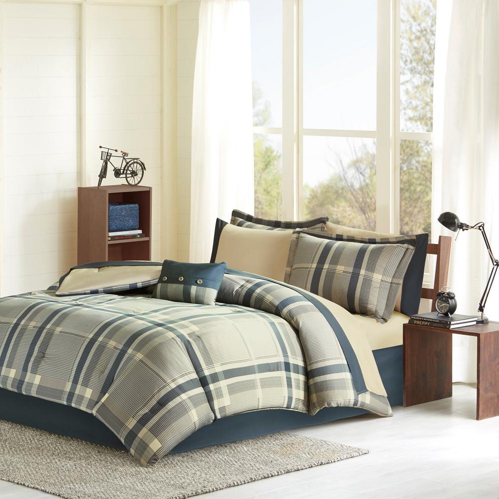 Twin XL Full Queen Bed Bag Blue White Gray Stripe Sporty 7pc Comforter Sheet Set