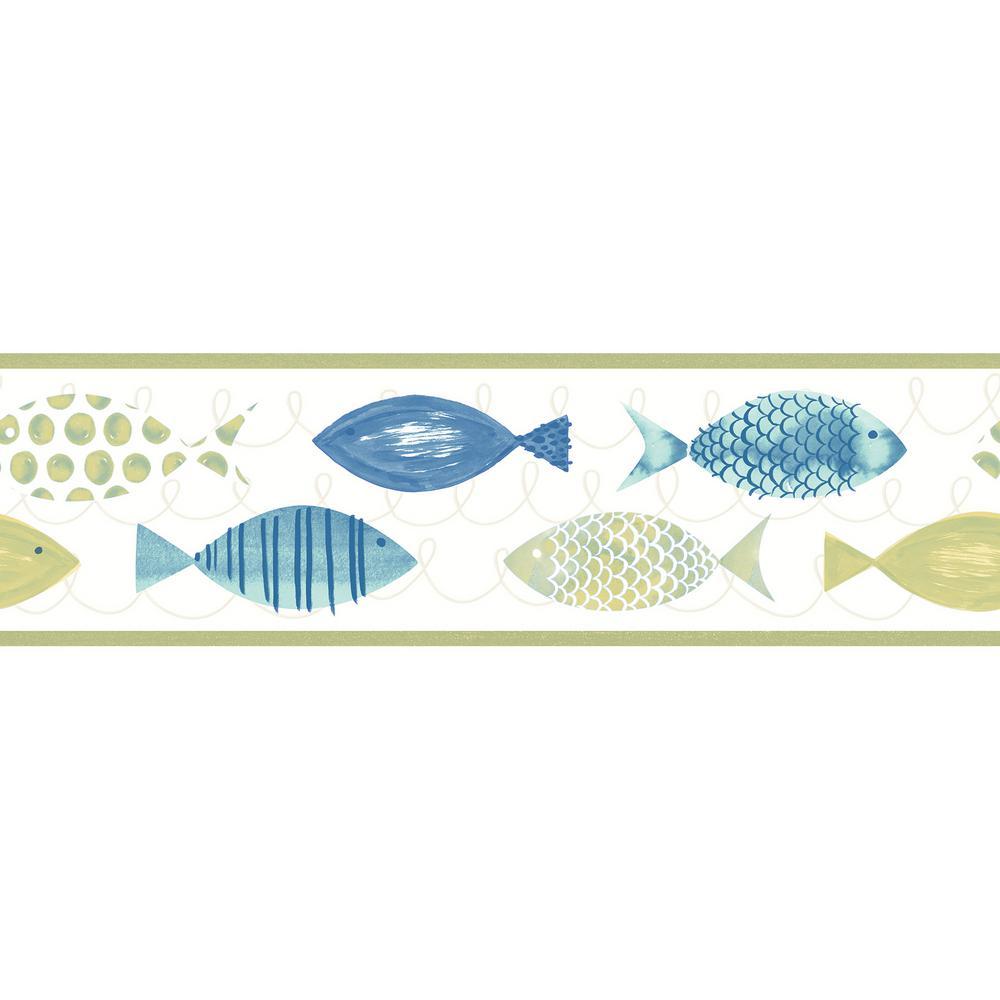Key West Green Fish Green Wallpaper Border